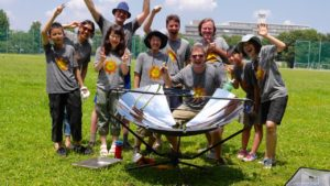 Solar cooking on summer camp in Tokyo